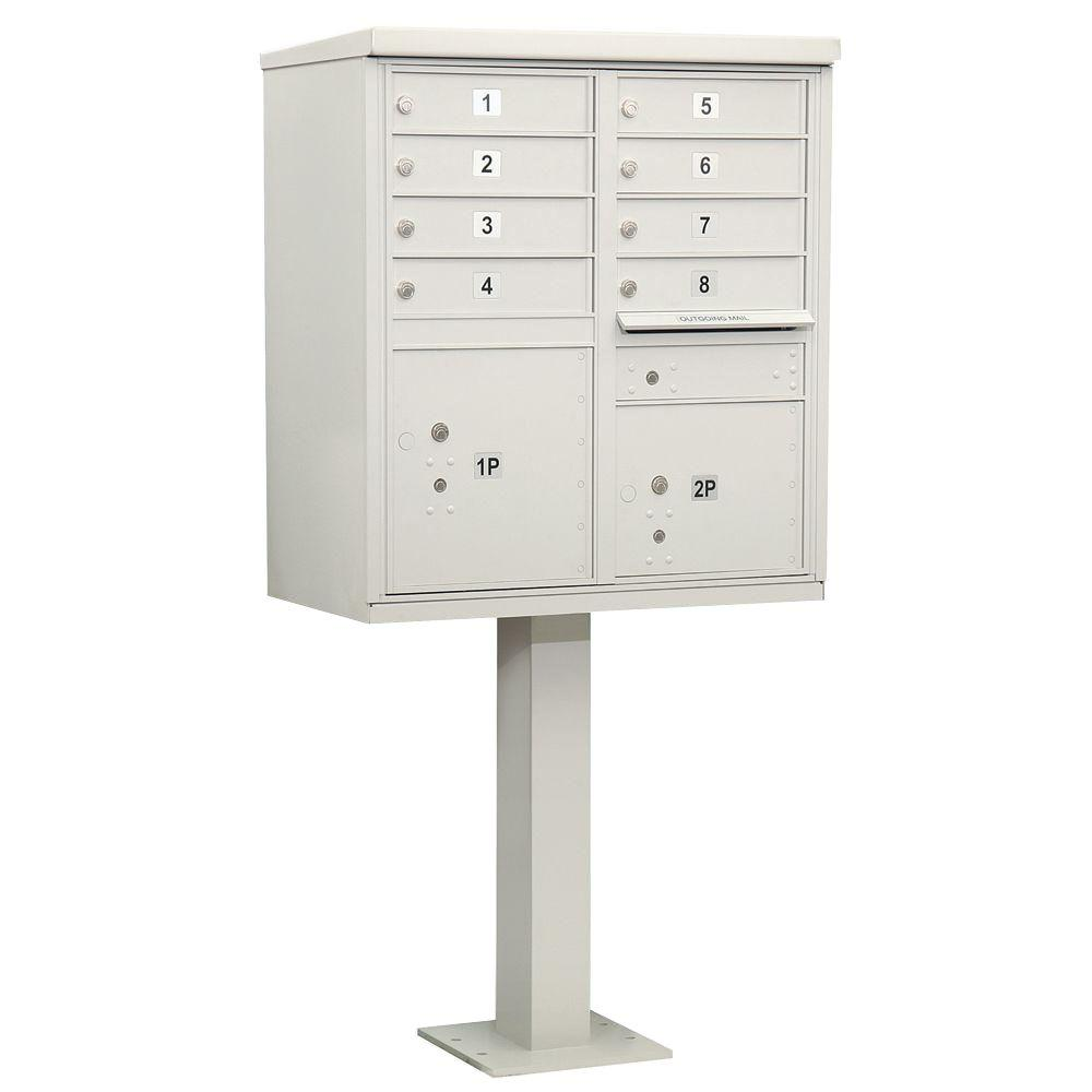 Salsbury Industries Gray USPS Access Cluster Box Unit with 8 A Size Doors and Pedestal