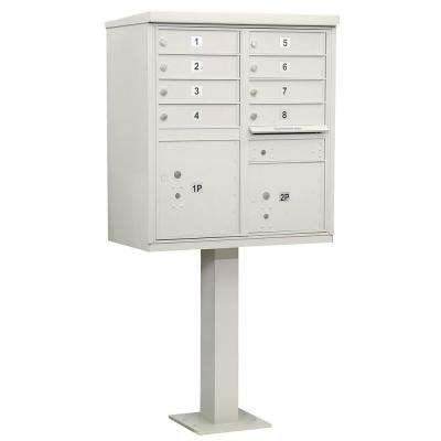 Gray USPS Access Cluster Box Unit with 8 A Size Doors and Pedestal