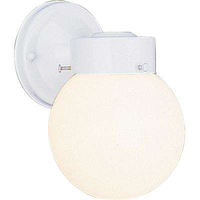 1-Light White Outdoor Wall Mount