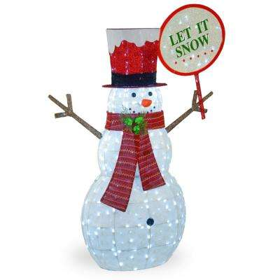 66 in. Mesh Fabric With Glitter Snowman with 400 White LED Lights