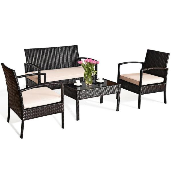Costway 4-Piece Wicker Patio Conversation Set with Beige Cushions