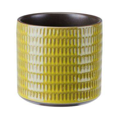 Cylinder 5.4 in. W x 5 in. H Olive Green Ceramic Planter