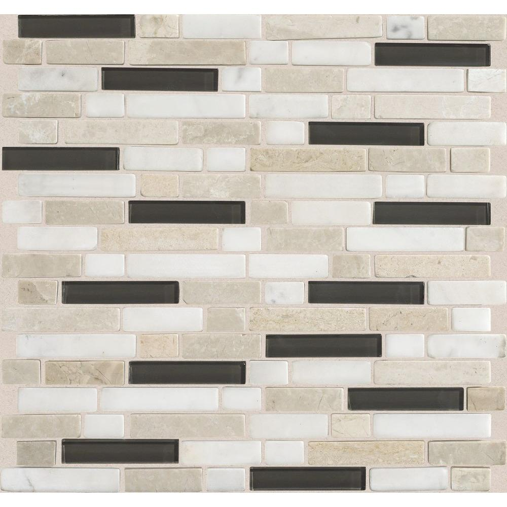 Daltile Stone Radiance Kinetic Khaki 11-3/4 in. x 12-1/2 in. x 8 mm Glass and Stone Mosaic Blend Wall Tile (1 sq. ft. / piece)