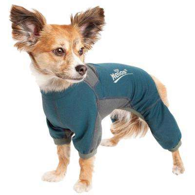 Small Blue Rufflex Breathable Full Bodied Performance Dog Warmup Track Suit