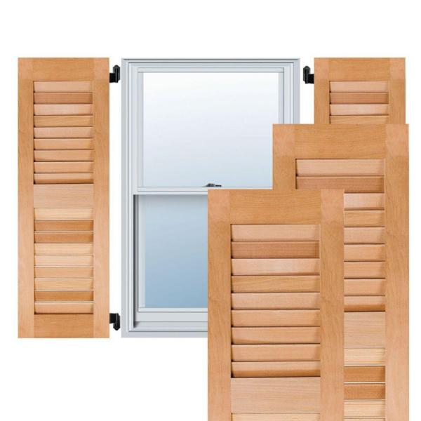 Ekena Millwork 15 In X 59 In Exterior Real Wood Western Red Cedar Louvered Shutters Pair Unfinished Rwl15x059unw The Home Depot