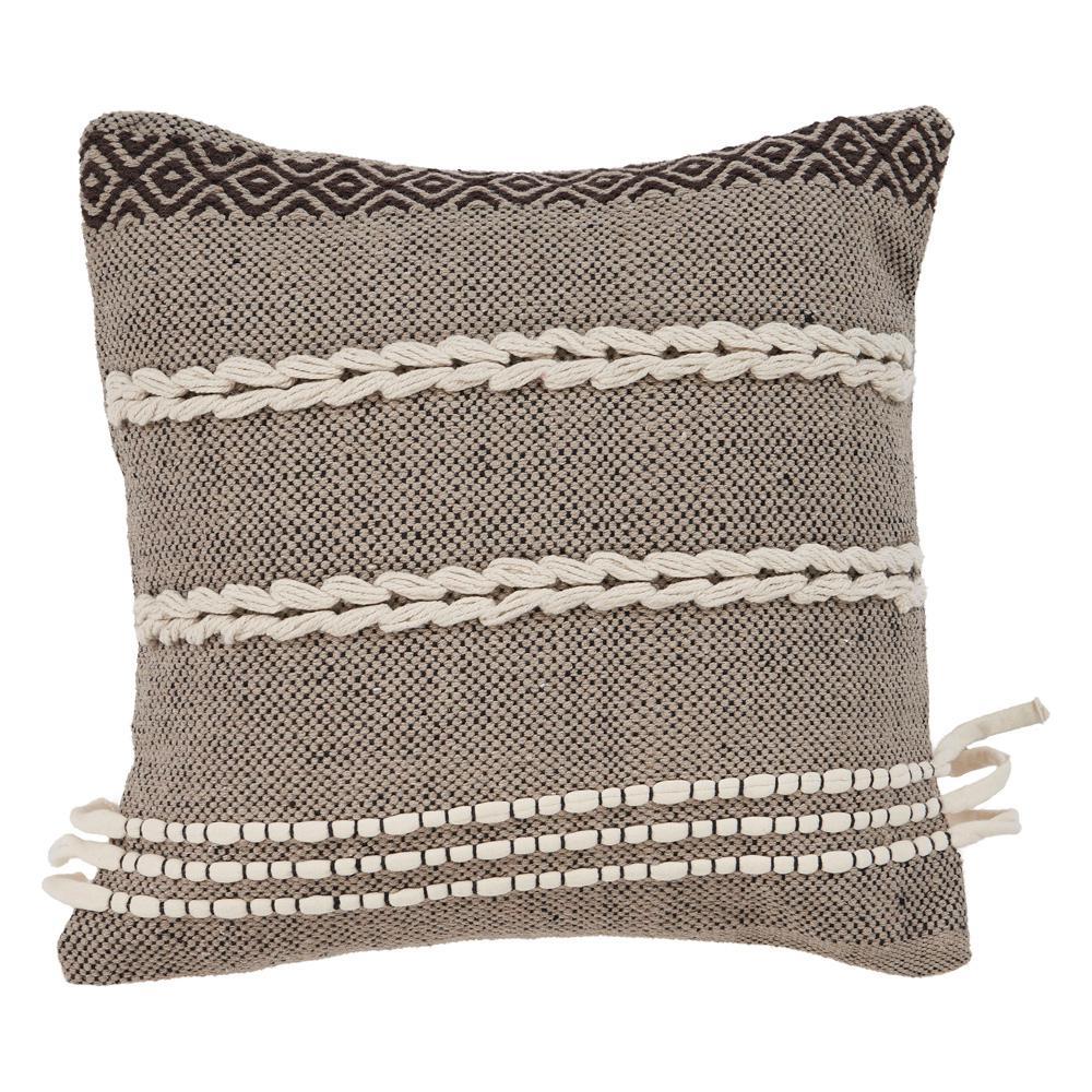 Zanthia Banded 20 in. x 20 in. Black Natural Pillow