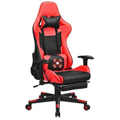 Red Massage Gaming Chair Upholstery Reclining Racing Office Chair with Lumbar Support and Footrest