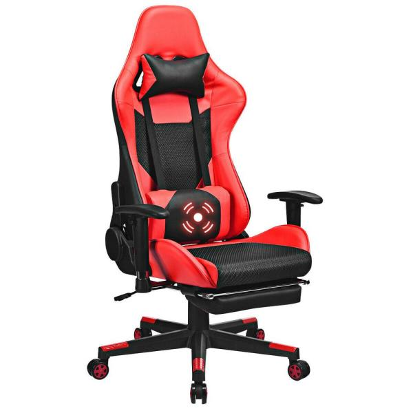 Costway Red Massage Gaming Chair Upholstery Reclining Racing Office Chair With Lumbar Support And Footrest Hw62776re The Home Depot