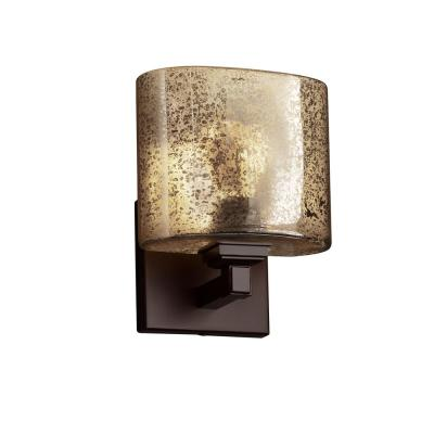 Fusion Regency 1-Light Dark Bronze Wall Sconce with Mercury Glass Shade