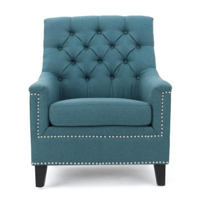 Jaclyn Tufted Dark Teal Fabric Club Chair with Stud Accents
