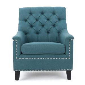 Noble House Jaclyn Tufted Dark Teal Fabric Club Chair With Stud