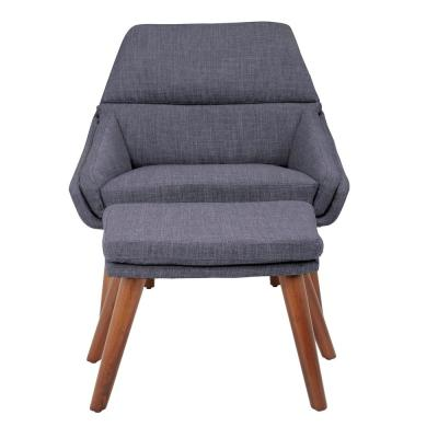 Bendal Navy Fabric Chair and Ottoman with Coffee Legs