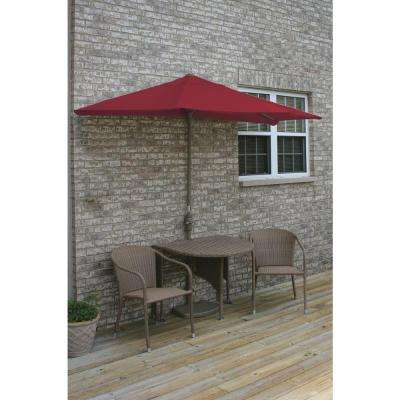 Terrace Mates Adena 5-Piece Coffee Patio Bistro Set with 9 ft. Red Sunbrella Half-Umbrella