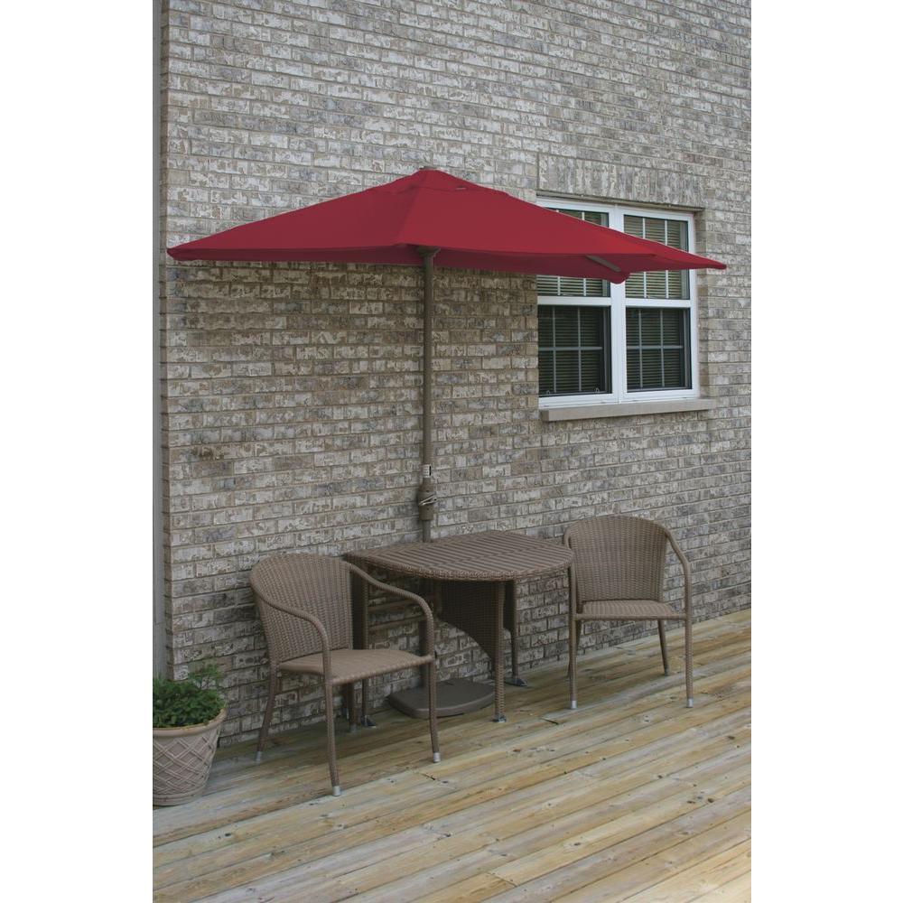 Blue Star Group Terrace Mates Genevieve 5-Piece Coffee Patio Bistro Set with 9 ft. Red Sunbrella Half-Umbrella