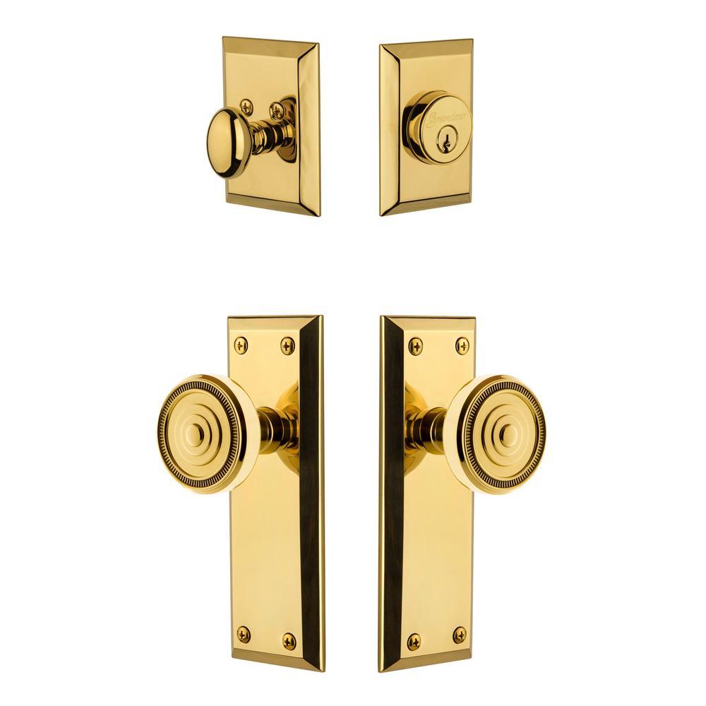 Fifth Avenue Plate 2-3/8 in. Backset Lifetime Brass Soleil Door Knob with Single Cylinder Deadbolt