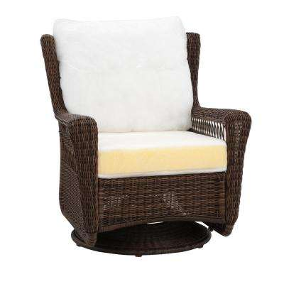 Park Meadows Brown Custom Swivel Rocking Wicker Outdoor Lounge Chair with Cushions Included, Choose Your Own Color