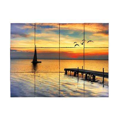 Sailboat 24 in. x 18 in. Tumbled Marble Tiles (3 sq. ft. /case)