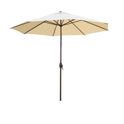 11 ft. Aluminum Market Push Button Tilt and Crank Patio Umbrella in Beige