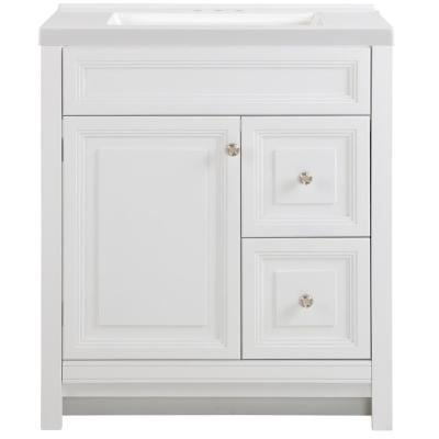 Brinkhill 31 in. W x 22 in. D Bath Vanity in White with Cultured Marble Vanity Top in White with White Sink