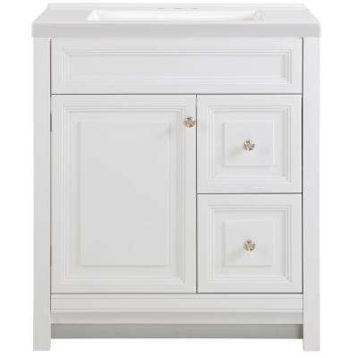 Brinkhill 31 in. W x 22 in. D Vanity in White with Cultured Marble Vanity Top in White with White Sink