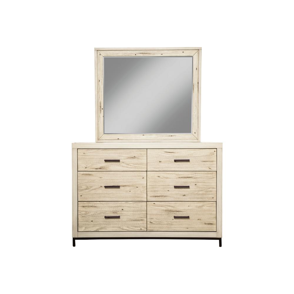 Malibu 6-Drawer Distressed White Dresser and Mirror Set