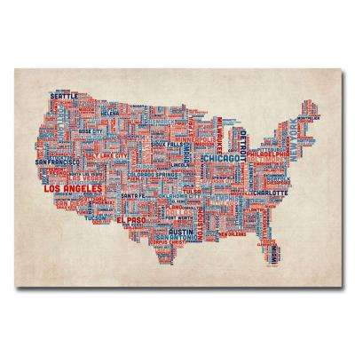 30 in. x 47 in. US Cities Text Map V Canvas Art