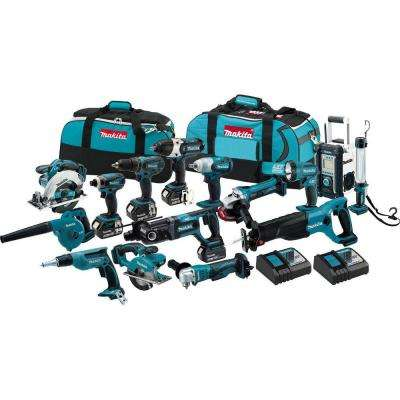 18-Volt LXT Lithium-Ion Cordless Combo Kit (15-Tool) with (4) 3.0 Ah Batteries, (2) Rapid Charger, and (2) Tool Bag