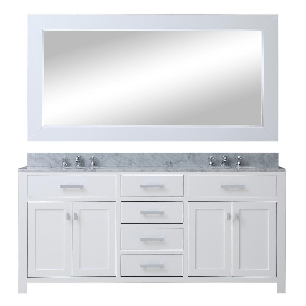 Water Creation Madison 60 In Vanity Modern White With Marble Top Carrara
