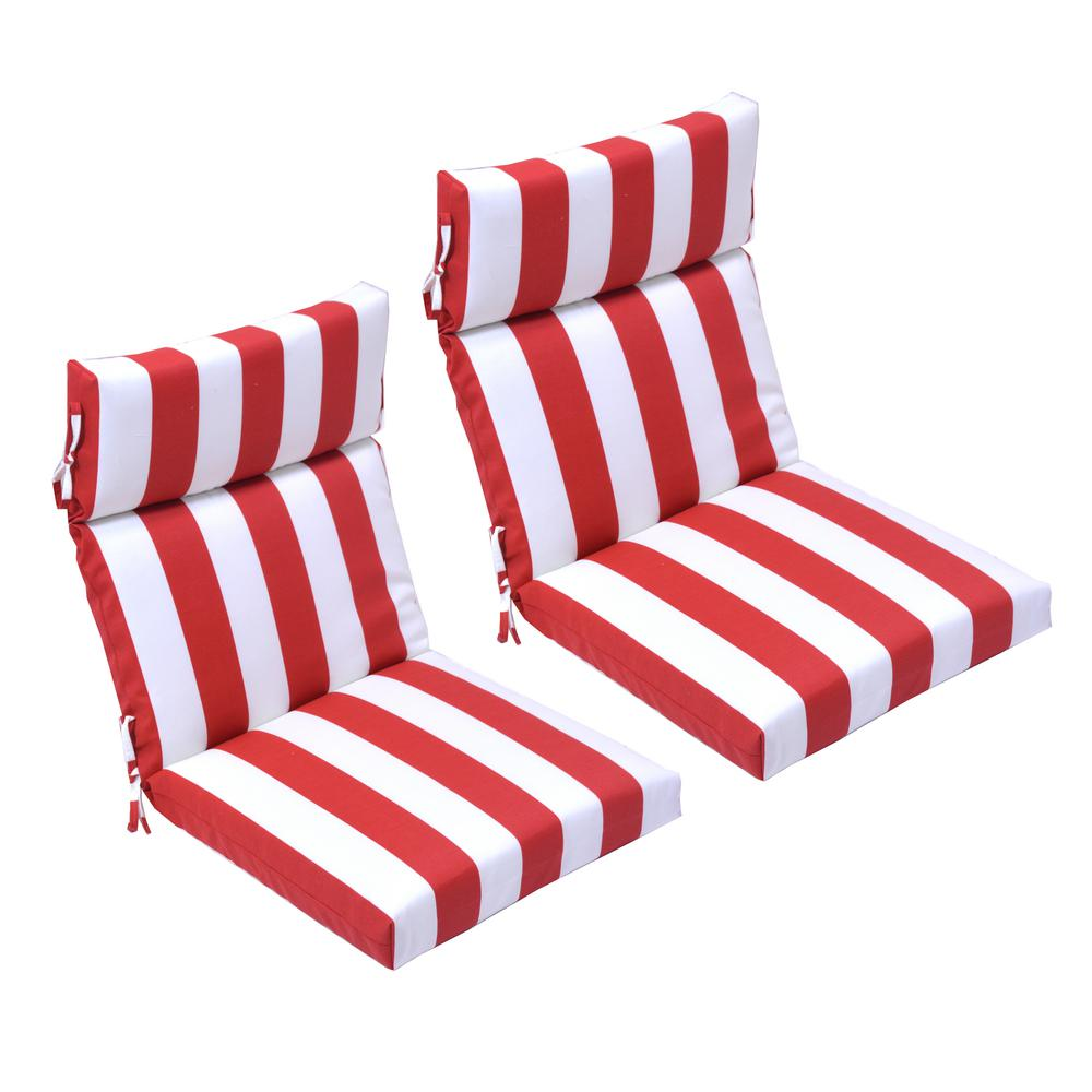 Magnificent 21 5 In X 44 In Red Cabana Stripe Outdoor High Back Dining Chair Cushion 2 Pack Ocoug Best Dining Table And Chair Ideas Images Ocougorg