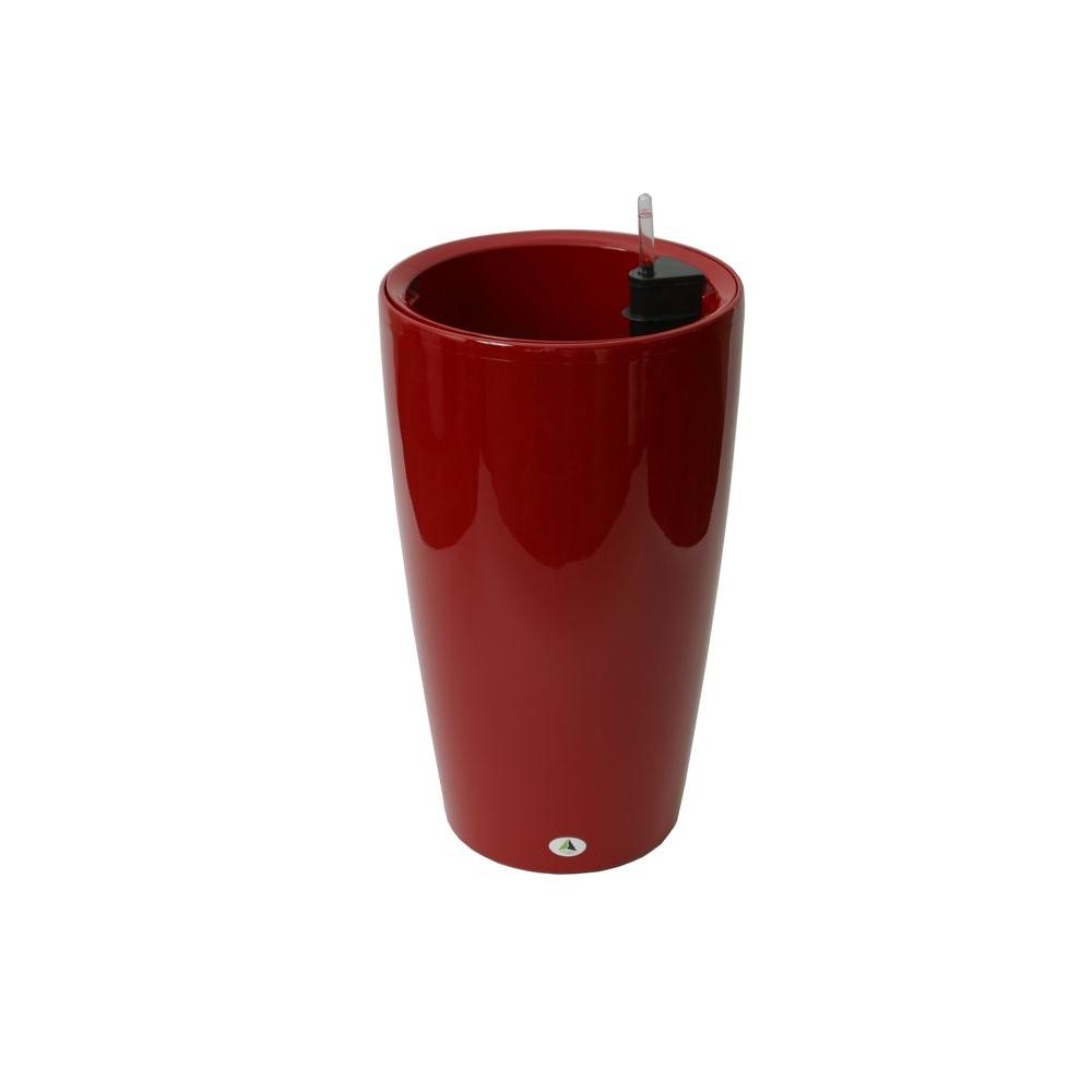 Modena 22 in. Red Round Self-Watering Plastic Planter
