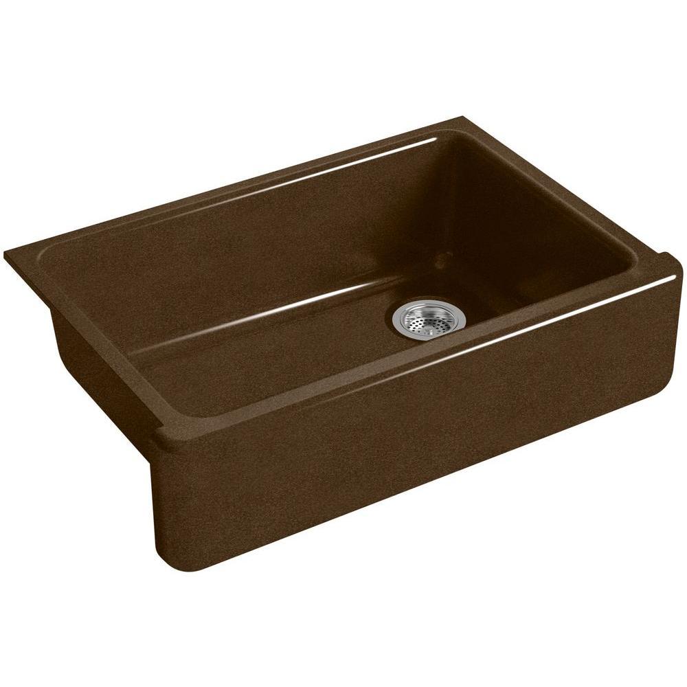 Whitehaven Farmhouse Apron-Front Cast-Iron 33 in. Single Basin Kitchen Sink in Black 'n Tan