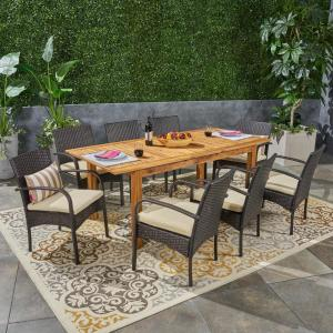 Elmar Multi-Brown 9-Piece Wood and Wicker Outdoor Dining Set with Creme Cushions