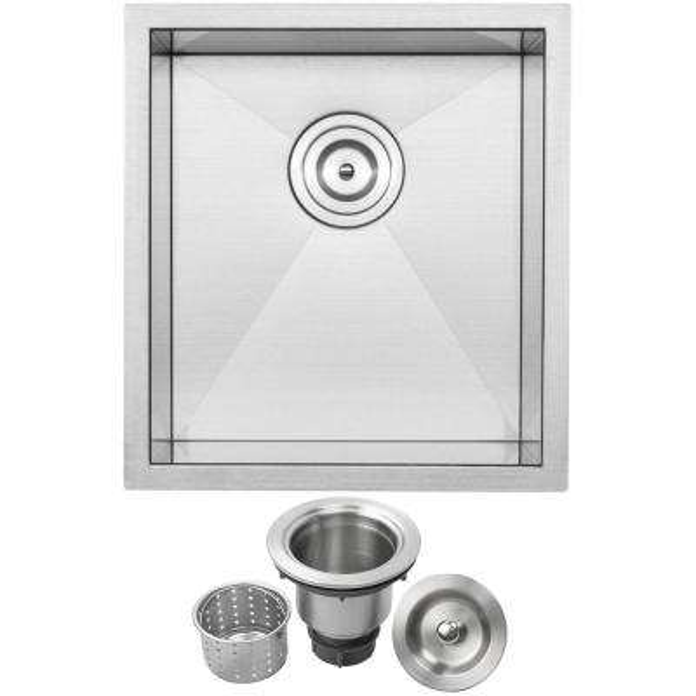 Pacific Zero Radius Undermount 16-Gauge Stainless Steel 16 in. Single Basin Kitchen and Bar Sink with Basket Strainer