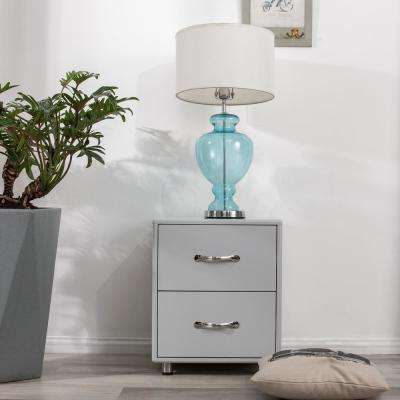 Grey Contemporary Nightstand with 2-Drawers
