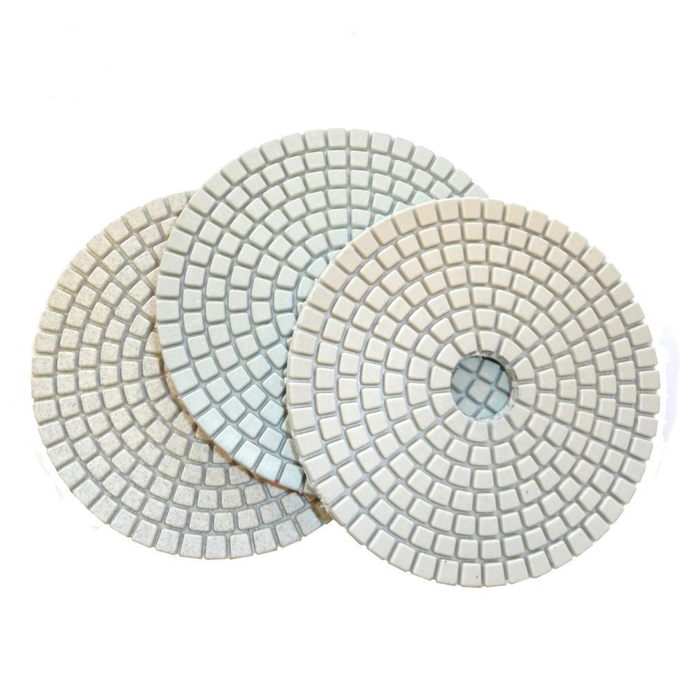 "4"" Dry Diamond Polishing Pads Set of 7 White Buff for Light Color Granite"