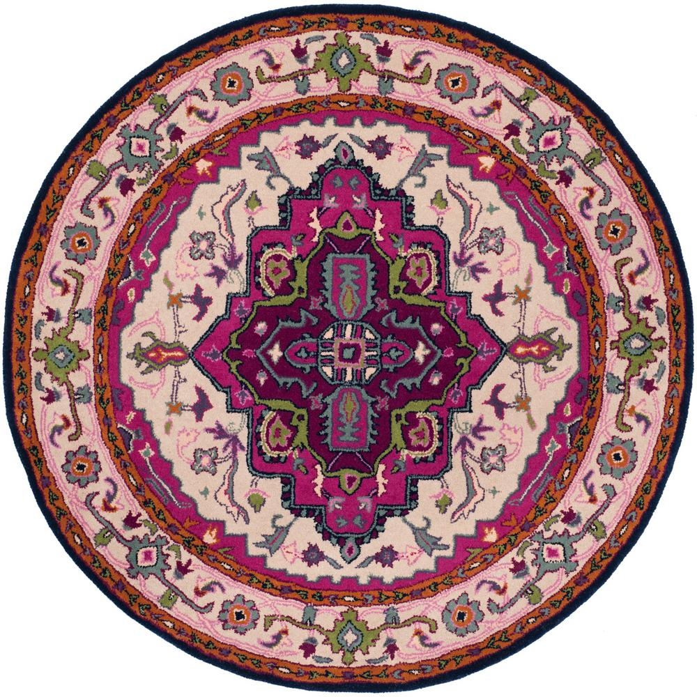 Bellagio Ivory/Pink 5 ft. x 5 ft. Round Area Rug