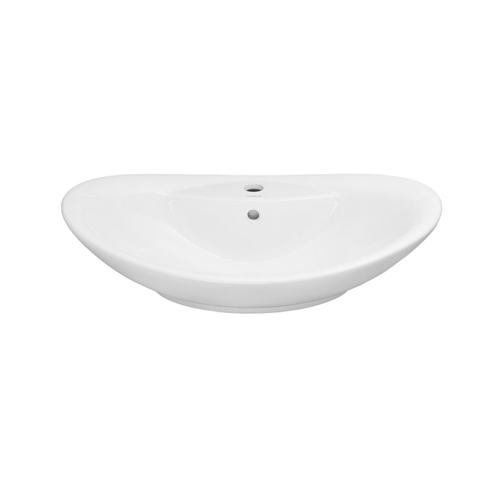 Ronbow Essentials Ellipse Vessel Sink In White 200223 WH   The Home Depot