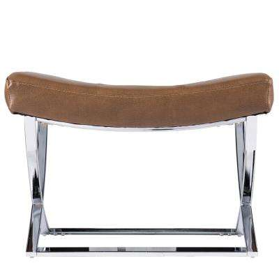 Risa 16.75 in. Caramel and Silver Tufted Stool