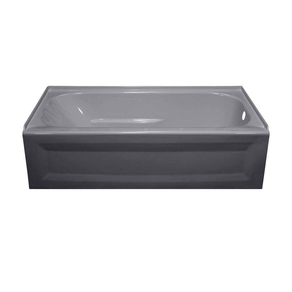 Lyons Industries Elite 4.5 ft. Right Drain Soaking Tub in Silver Metallic