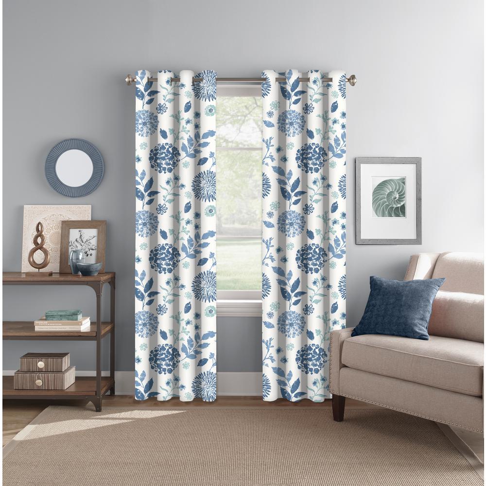 "Light Filtering Summit Botanical Indigo/Aqua Rod Pocket/Back Tab Curtain Panel 52"" W x 84"" L"