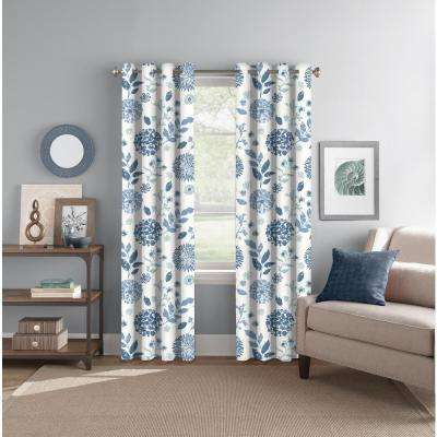 "Light Filtering Summit Botanical Indigo/Aqua Rod Pocket/Back Tab Curtain Panel 52"" W x 84"" L"