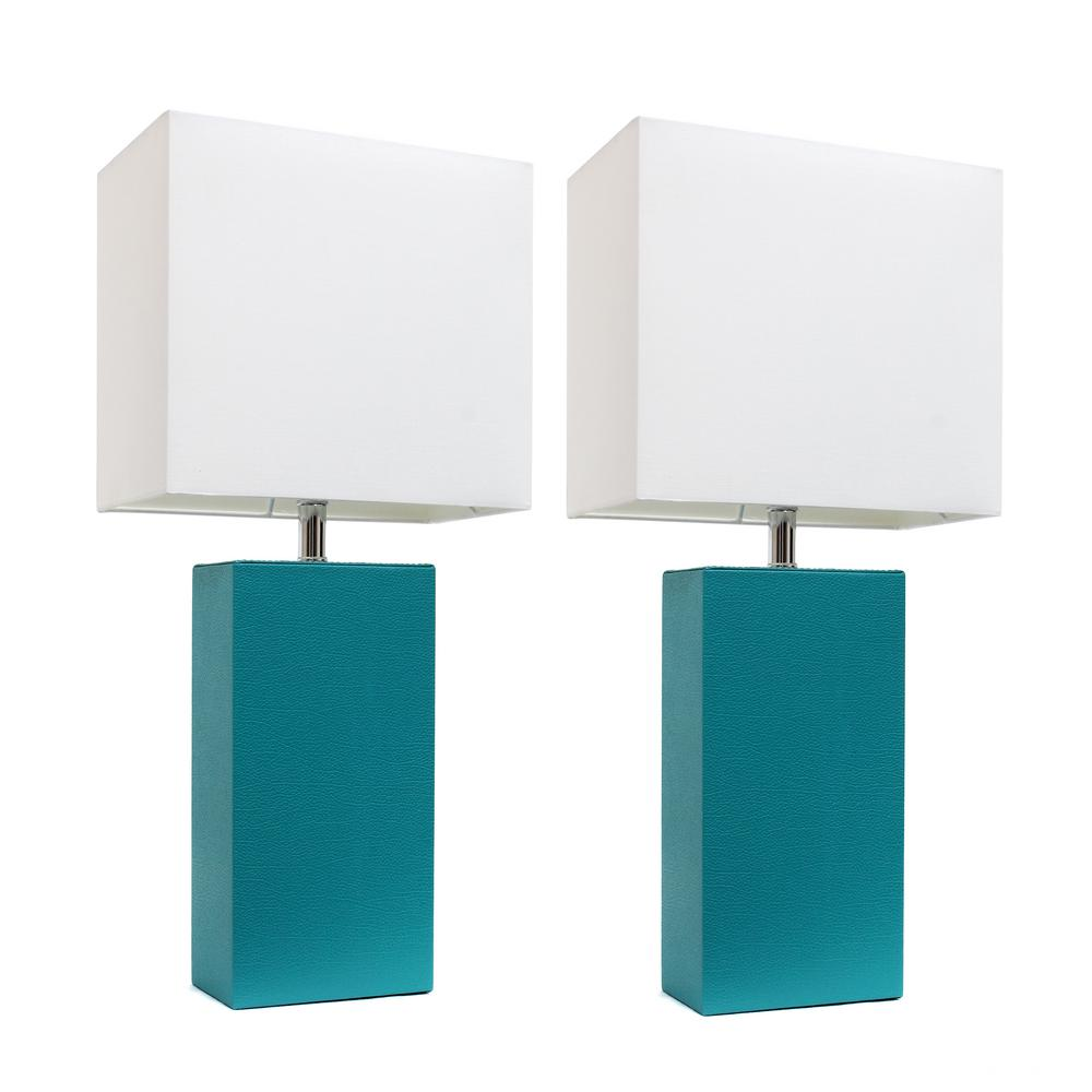 Modern Teal Leather Table Lamps With White Fabric Shades