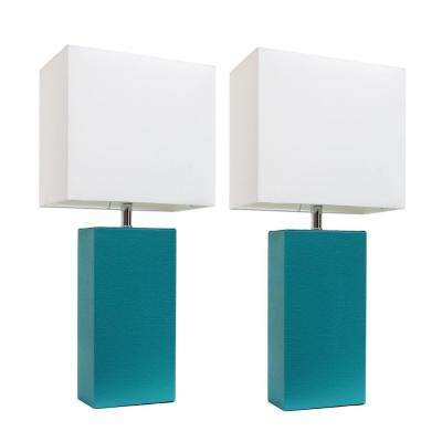 21 in. Modern Teal Leather Table Lamps with White Fabric Shades