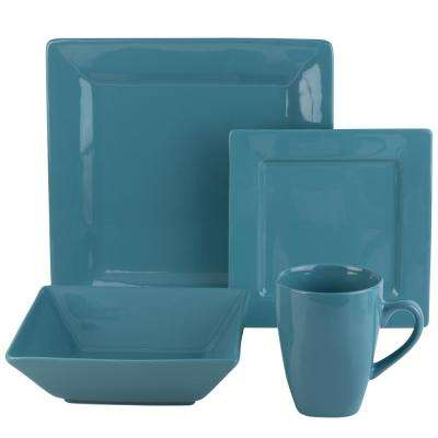 Nova 16-Piece Aqua Square Dinnerware Set
