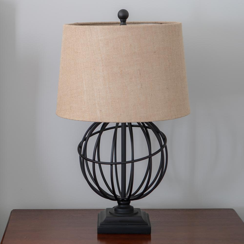 Ethan Iron Sphere 17 in. Black Table Lamp with Linen Shade