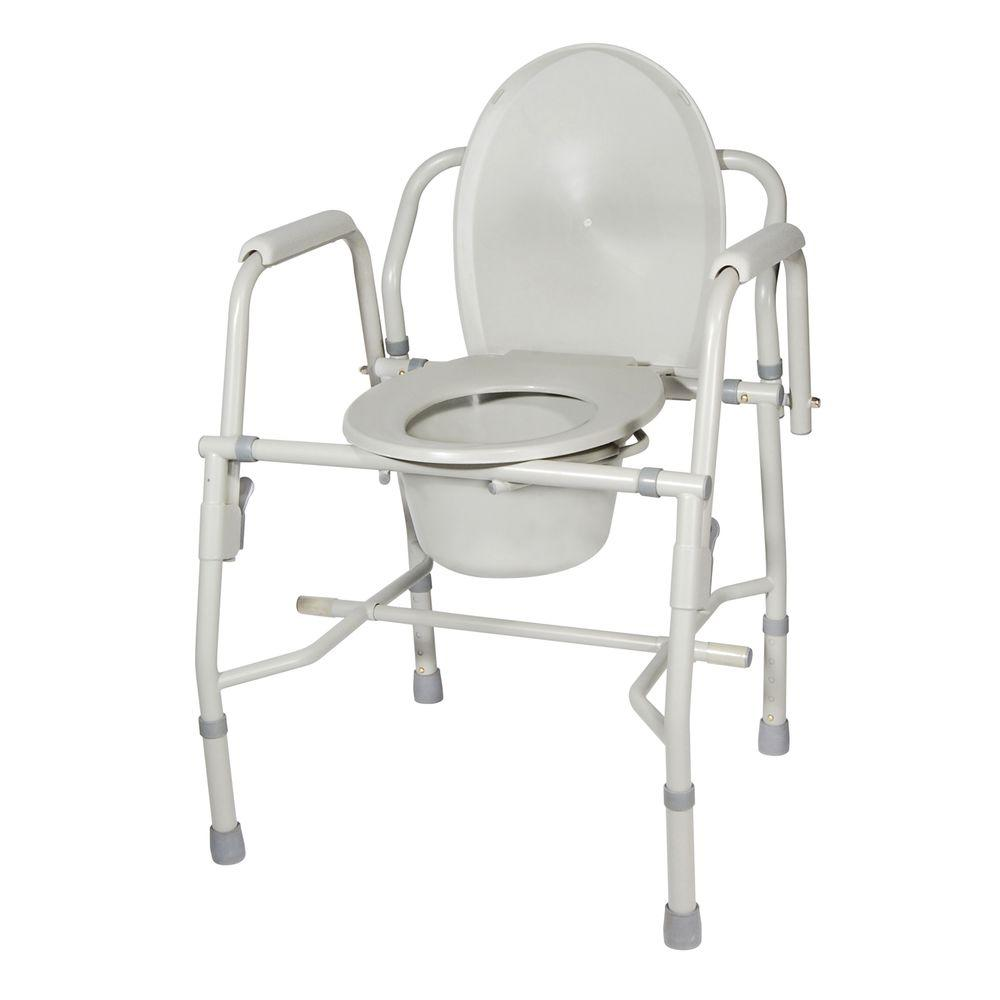 Drive Medical Steel Multiuse Commode With Padded Arms Grey