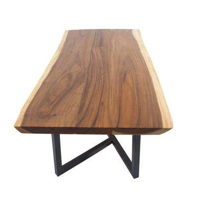 Wood dining tables Light Stained Light Brown Suar And Iron Rectangular Dining Table The Home Depot Kitchen Dining Tables Kitchen Dining Room Furniture The Home