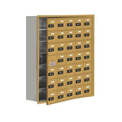 19100 Series 35.75 in. W x 40.75 in. H x 8.75 in. D 34 Doors Cell Phone Locker Recess Mount Resettable Lock in Gold