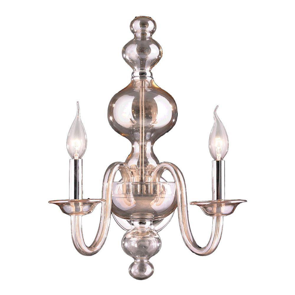 Murano 2-Light Chrome and Golden Teak Crystal Sconce
