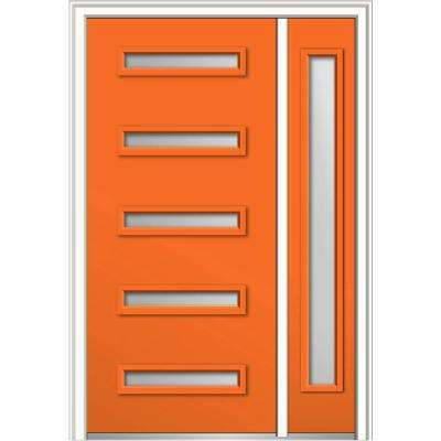48 in. x 80 in. Davina Frosted Glass Left-Hand Inswing 5-Lite Modern Painted Steel Prehung Front Door with Sidelite